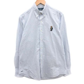 ラルフローレン(Ralph Lauren)のラルフローレン シャツ ボタンダウン ストライプ ポロベア クマ M 水色 白(その他)
