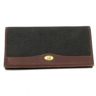 ダンヒル(Dunhill)のダンヒル 長財布 二つ折り レザー 切替 黒 ブラック 茶色 ブラウン ■GY(その他)