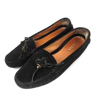 プラダ(PRADA)のプラダ モカシン ローファー スエード リボン ロゴ スクエアトゥ 36.5B(ローファー/革靴)