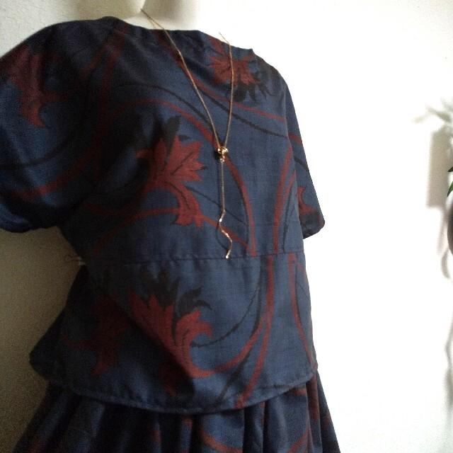 208 着物リメイク☆大島紬セットアップ レディースのスカート(ロングスカート)の商品写真