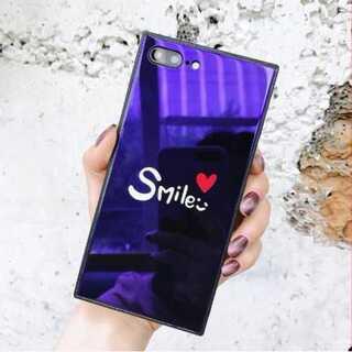 iphoneケース Smile柄 黒 鏡面 強化ガラス TPU シンプル 可愛い