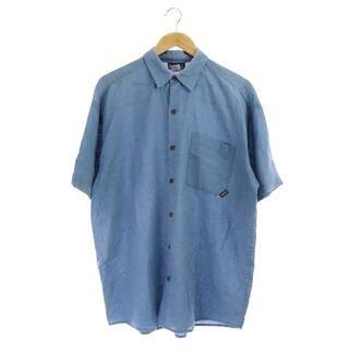 パタゴニア(patagonia)のパタゴニア Patagonia 半袖 シャツ 胸ポケット リネン L 青 ブルー(シャツ)