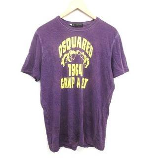ディースクエアード(DSQUARED2)のディースクエアード Tシャツ カットソー 半袖 ロゴ リネン L 紫 パープル(Tシャツ/カットソー(半袖/袖なし))