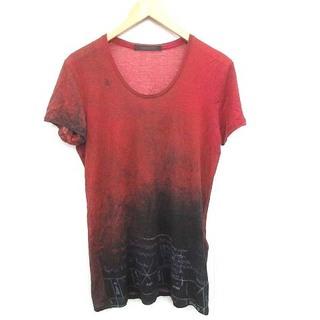 ユリウス(JULIUS)のユリウス Tシャツ カットソー グラデーションプリント加工 半袖 1 S 赤(Tシャツ/カットソー(半袖/袖なし))