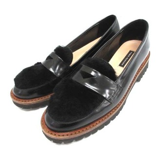 ファビオルスコーニ(FABIO RUSCONI)のファビオルスコーニ ローファー ファー レザー 36 23cm 黒 ブラック (ローファー/革靴)