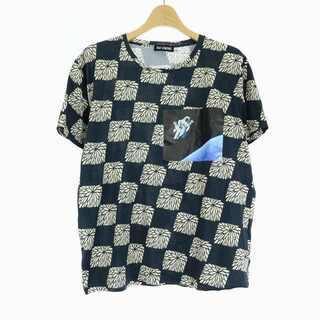ラフシモンズ(RAF SIMONS)のラフシモンズ Tシャツ カットソー 半袖 総柄 プリント XS 紺 ベージュ(Tシャツ/カットソー(半袖/袖なし))