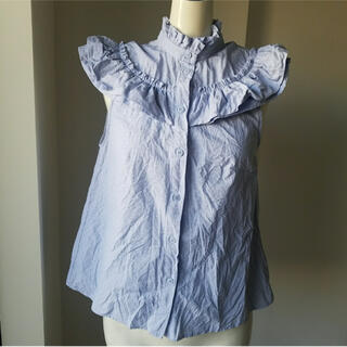エイチアンドエム(H&M)のH&M新品水玉ドット柄フリル襟タンクトップスブラウス32(シャツ/ブラウス(半袖/袖なし))