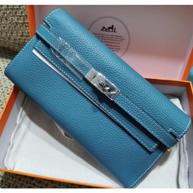 ブルー ケリー長財布 レディース 大容量 ロックプルタブ開閉 レディースのファッション小物(財布)の商品写真