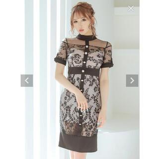 デイジーストア(dazzy store)のフラワー刺繍オールレースパールビジュータイトミディアムドレス(ナイトドレス)