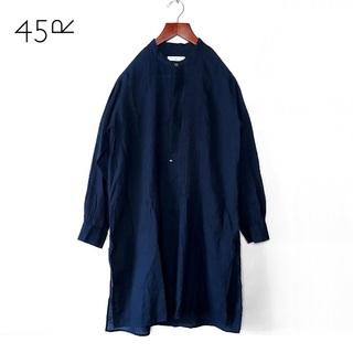 45rpm - 45rpm✨ピンタック ハーフボタン バンドカラー シャツワンピ ロング丈シャツ
