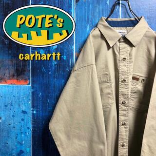 carhartt - 【カーハート】メキシコ製レザーロゴ入りダブルポケットビッグワークシャツ