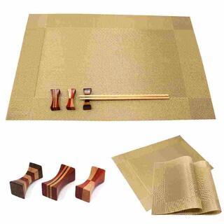 3組6点セット 北欧 ランチマット+箸置き ゴールド //br1