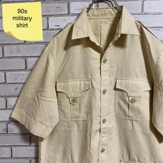 90s 古着 ヴィンテージ ミリタリーシャツ 4ポケット 開襟シャツ(シャツ)