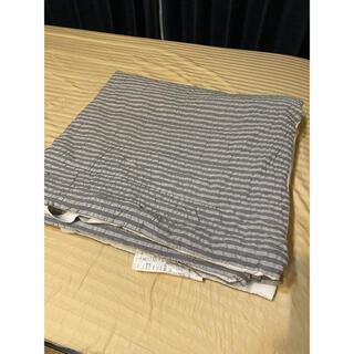 ムジルシリョウヒン(MUJI (無印良品))の無印良品 敷きパッド シングルサイズ ボーダー カジュアルモダン 通年 グレー(シーツ/カバー)