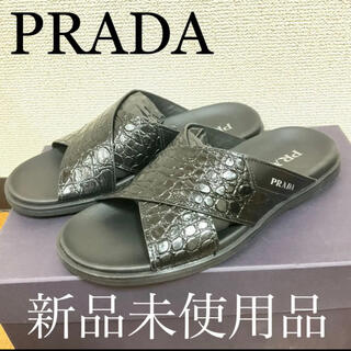 PRADA - ほぼ新品!室内一度きり使用のみ!PRADA プラダ レザー サンダル クロコ 黒