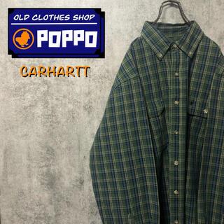 carhartt - カーハート☆ワンポイント刺繍ロゴフラップ付きダブルポケットワークチェックシャツ