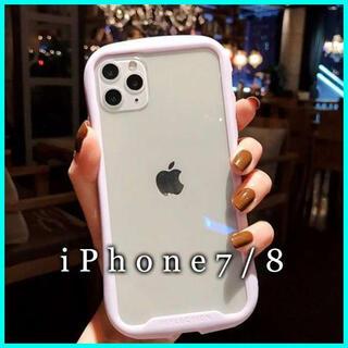 iPhone7/8 ケース クリア ガラス カバー 画面保護 韓国 薄紫 F