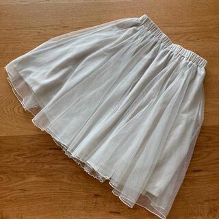 クチュールブローチ(Couture Brooch)のクチュールブローチ  チュールスカート オフホワイト 38(ひざ丈スカート)
