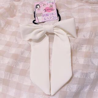 新品 リボン ヘアゴム 制服リボン ボウタイ 2way  白 ホワイト