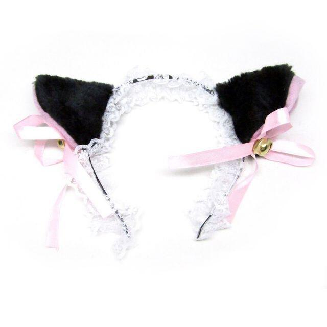 ネコ耳フリルカチューシャ 黒猫レース ねこコスプレ //ack エンタメ/ホビーのコスプレ(小道具)の商品写真