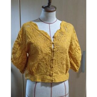 ミスティック(mystic)の綿100 黄色 パフスリーブ レース(シャツ/ブラウス(半袖/袖なし))