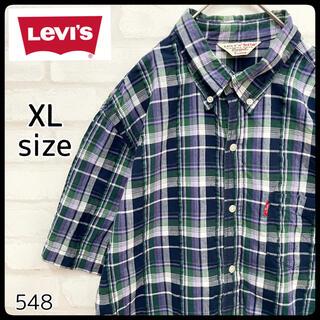 リーバイス(Levi's)の【Red Tab】LEVI'S リーバイス 半袖 チェック シャツ 青系(シャツ)