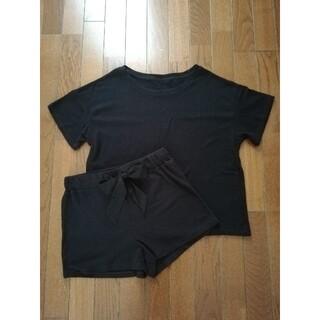 GU - 【ジーユー】黒リブ半袖+リボン付きショートパンツ ルームウェア パジャマ