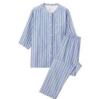 ムジルシリョウヒン(MUJI (無印良品))の新品 無印良品 脇に縫い目のない 薄手ガーゼ 七分袖パジャマ ネイビーストライプ(パジャマ)