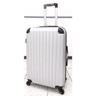 大型軽量スーツケース キャリーバッグ TSAロック付き Lサイズ シルバー(旅行用品)