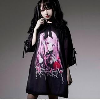 ミルクボーイ(MILKBOY)のレフレム💗negiコラボ💗桃色髪少女半袖レースアップTシャツ💗黒💗新品(Tシャツ(半袖/袖なし))