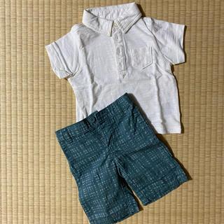 オールドネイビー(Old Navy)のOLD NAVY 上下セット 襟付きTシャツ パンツ 6-12M(Tシャツ)