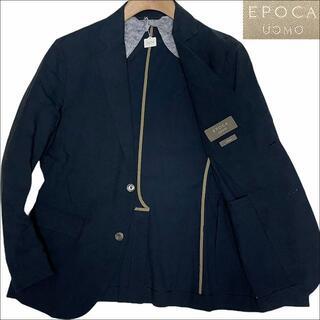 エポカ(EPOCA)のJ3570 美品 エポカウォモ 総柄 サマージャケット ネイビー 48(テーラードジャケット)