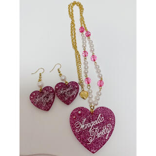 Angelic Pretty - Angelic pretty Deco Heart ネックレス&ピアス ピンク
