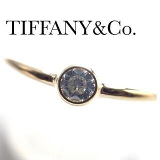 Tiffany & Co. - ティファニー TIFFANY K18YG ダイヤ ウェーブ シングルロウ リング
