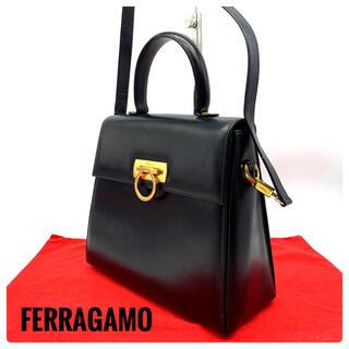 Ferragamo - ★美品★フェラガモ レザー【ガンチーニ】ハンドバッグ 2way ブラック
