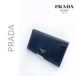 PRADA - 本物保証☆ブラックシンプル合わせ易い☆PRADA  サフィアーノ 2つ折り財布