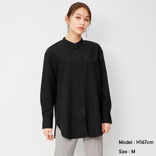 GU - GU  バンドカラーロングシャツ(長袖)  ブラック  L