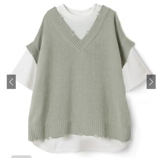 グレイル(GRL)のニットベストTシャツ。(Tシャツ/カットソー(半袖/袖なし))