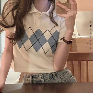 dholic - 新作セール【韓国ファッション】 ポロシャツ アーガイル 襟付き