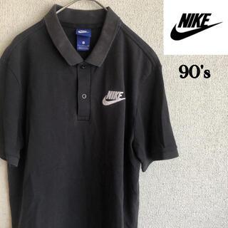 ナイキ(NIKE)の90s NIKE ビッグロゴ 刺繍 半袖 ポロシャツ ナイキ 黒 Sサイズ 古着(ポロシャツ)