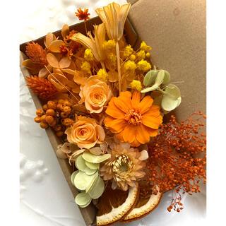 花材セット ジニア ローズ オレンジ系(プリザーブドフラワー)