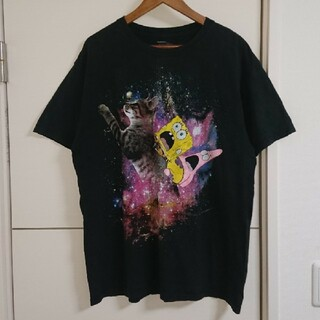 スポンジボブ スクエアパンツ Tシャツ アニメキャラクター古着 ネコ 猫