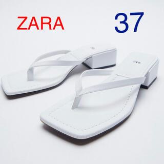 ZARA - (新品) ZARA スクエアトウミッドヒールサンダル size  37