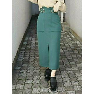MURUA - MURUA(ムルーア)/ダブルバックルハイウエストタイトスカート/グリーン/緑