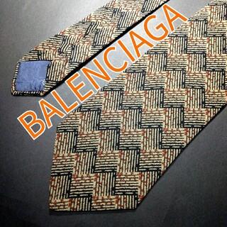 バレンシアガ(Balenciaga)の【極美品】BALENCIAGA 格子柄 ネクタイ カーキ(ネクタイ)