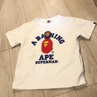アベイシングエイプ(A BATHING APE)のBABY MILO SUPERMAN COLLEGE TEE エイプ APE(Tシャツ/カットソー)