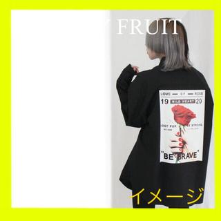 FUNKY FRUIT - バラフォトバックプリントシャツ シャツ 黒 プリントシャツ 長袖シャツ