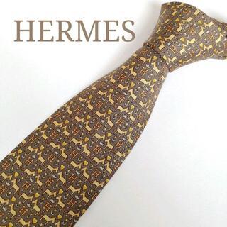 エルメス(Hermes)の【超美品】HERMES(エルメス) ネクタイ グレー 馬柄 H柄【フランス製】(ネクタイ)