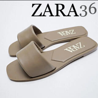 【新品未使用】ZARA PADDED FLAT LEATHER サンダル 36