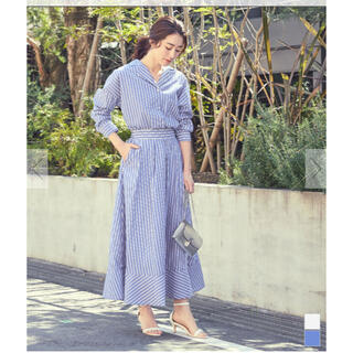 ティティベイト(titivate)のur's ユアーズ ストライプシャツ×スカートセットアップ(ロングワンピース/マキシワンピース)